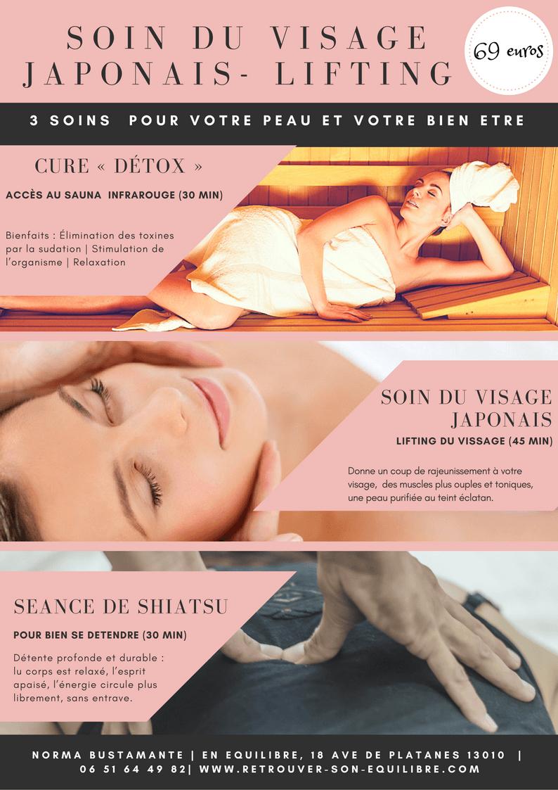 Cure de soins visage - Sauna, Kobido et shiatsu